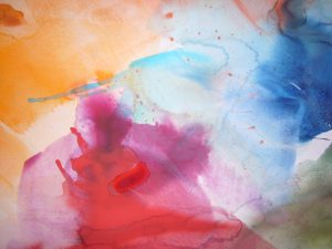 aquarell in rot gelb